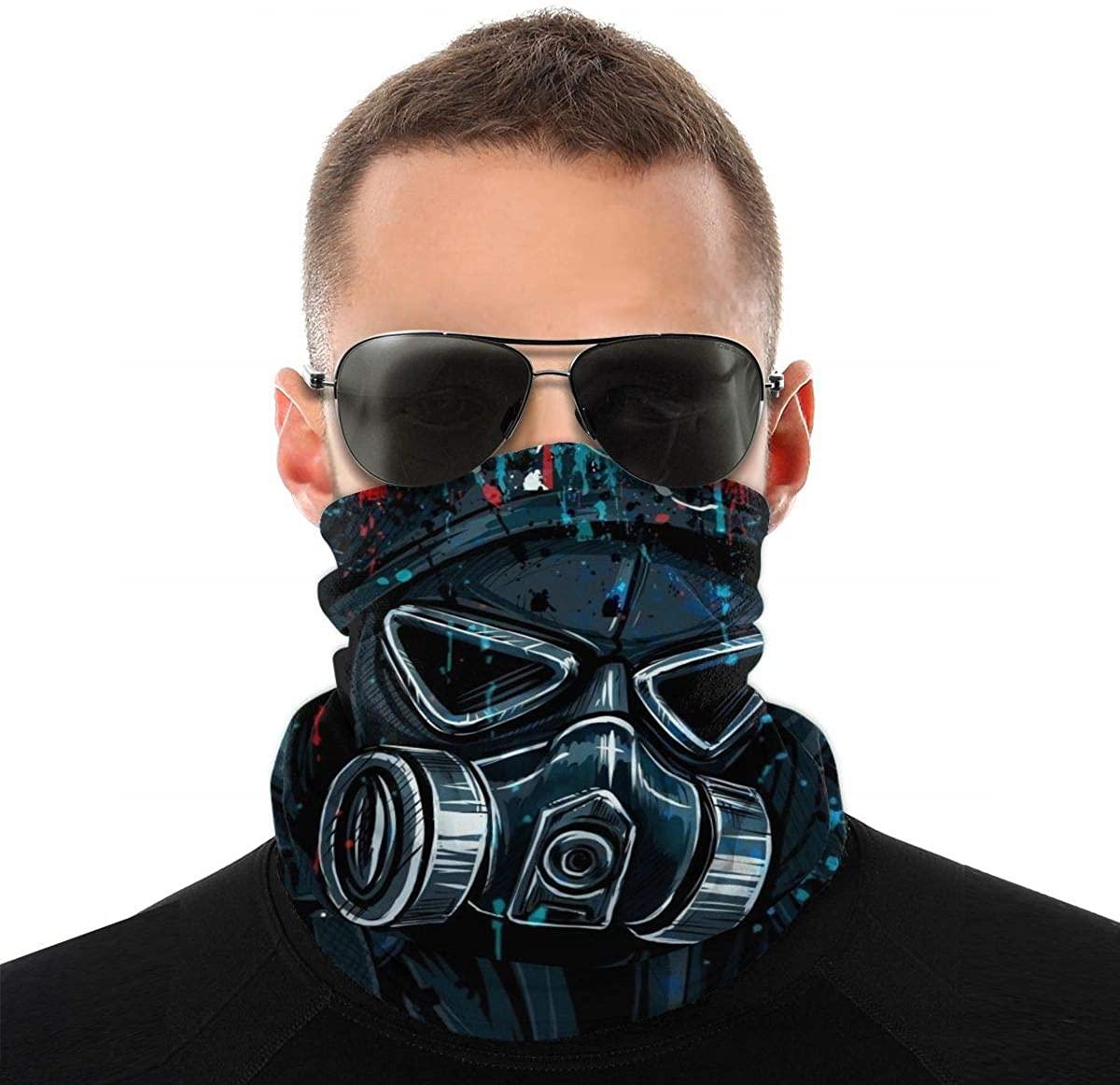 Gas Mask Art Face Mask Unisex Seamless Rave Bandana Neck Gaiter Tube Headwear Bandana White