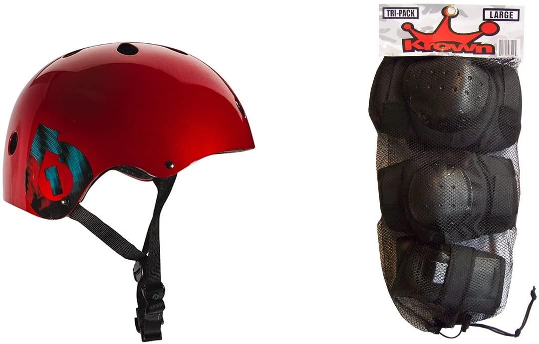 SixSixOne 661 Dirt Lid Plus Skate BMX Helmet CPSC Certified with Knee Elbow Wrist Pads