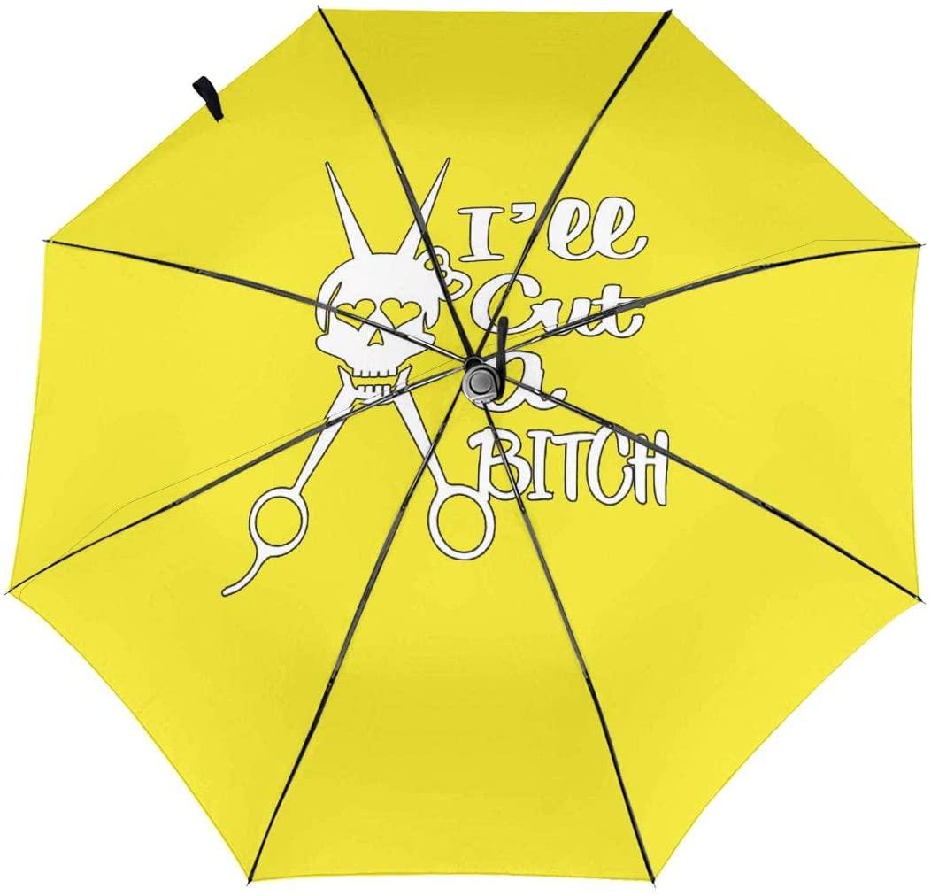 Ill Cut A Bitch Windproof Automatic Folding Umbrella Tri-fold Umbrella