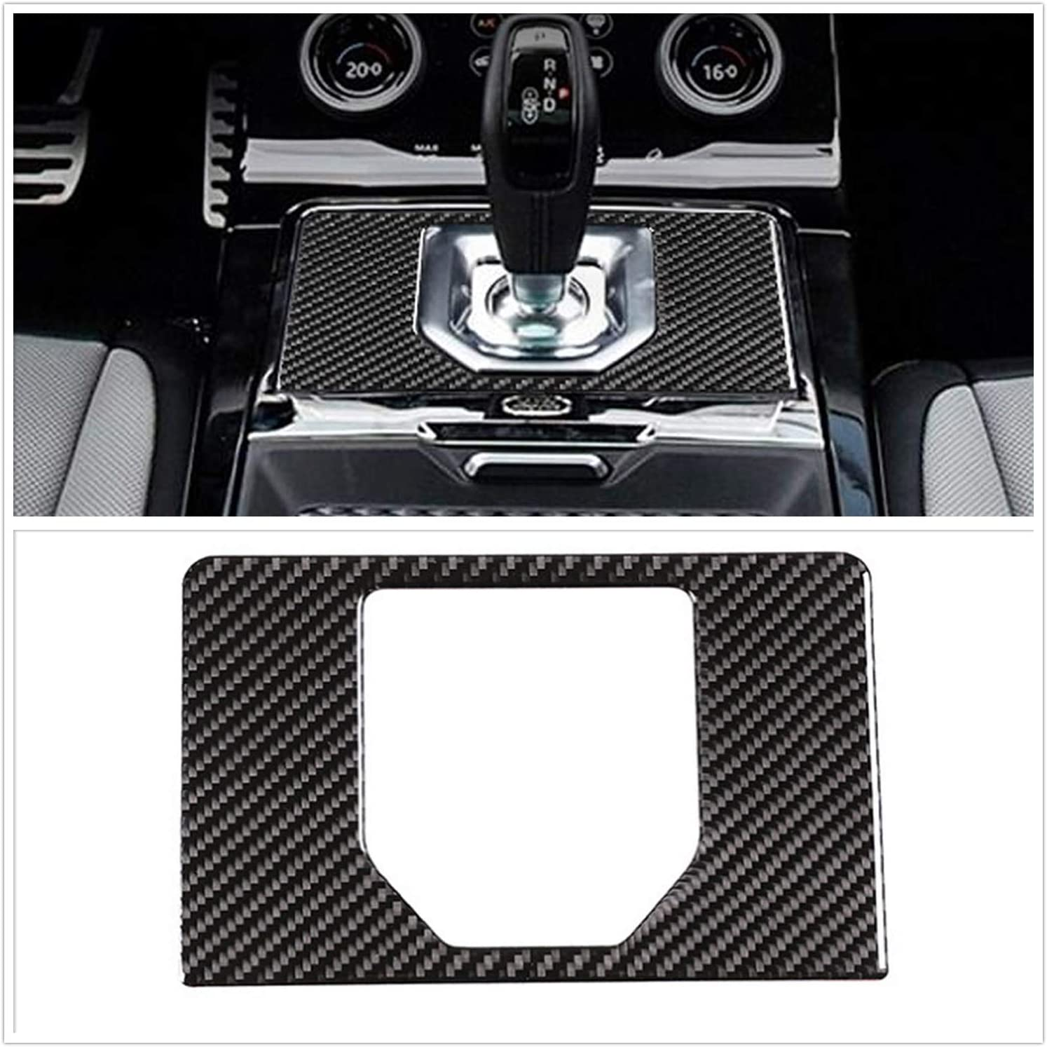 YOCTM Real Carbon Fiber Decals For Land Rover Evoque 2020 + Gear Shift Panel Cover Sticker Car Styling Moldings