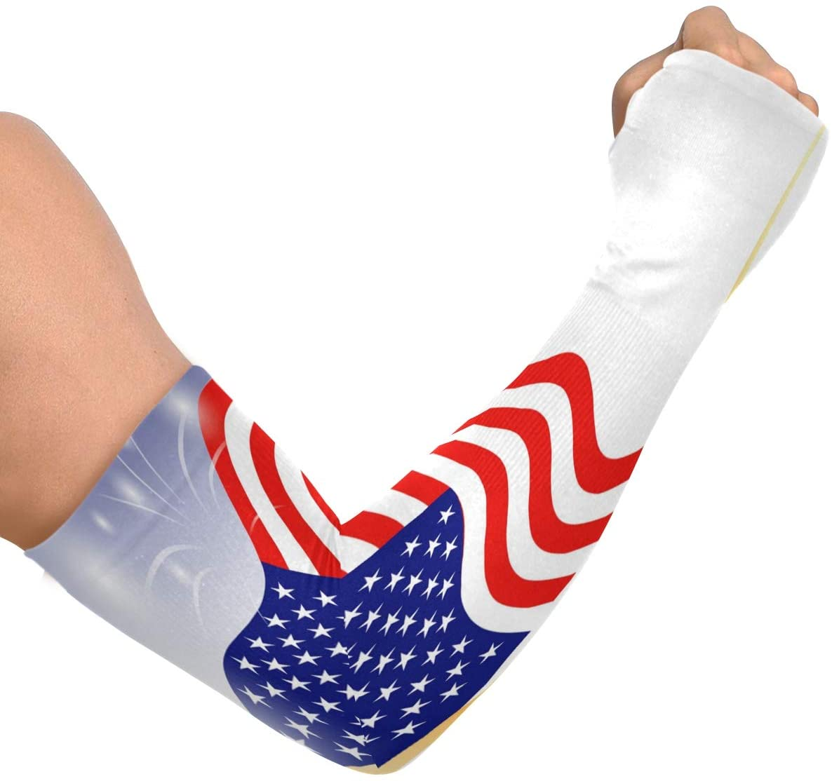 Compression Sleeves for Arms Women Men USA Flag Dark Blue Sky with Fireworks Uv Sun Protection Arm Sleeves Cooling Sleeves to Cover Arms for Men Women Work