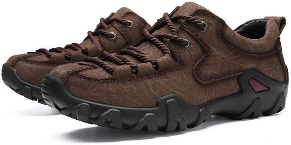 WAWB Men's Hiking Shoes Outdoor Travel Shoes Non-Slip Comfortable Cushioning Breathable Low Trekking to Climbing Angling,Dark Brown,41