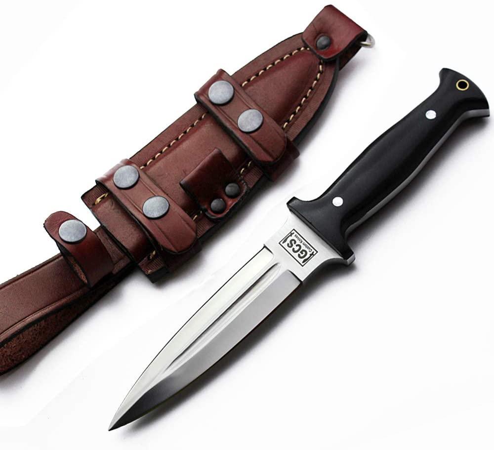 GCS Custom Handmade Black Micarta Handle Dagger D2 Tool Steel Cow Hide Sheath GCS234
