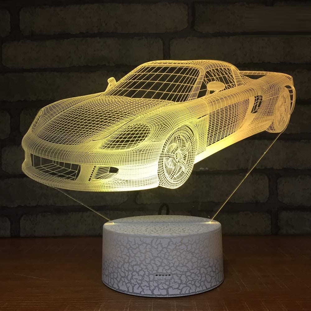L2eD 3D Led Lamp Table Night Light 7 Color Change Light with Multicolored Touch Button Acrylic Power by USB Or Batteries Gifts Kids Sports Car