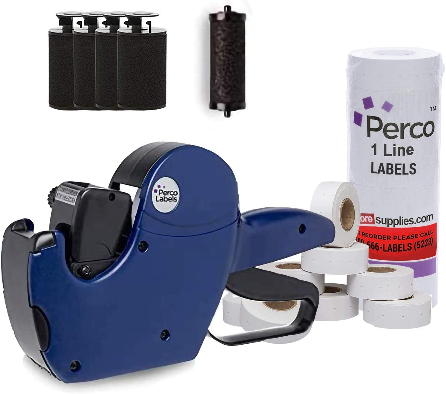 Perco 1 Line Price Gun with 8,000 1 Line White Labels and 4 Inkers