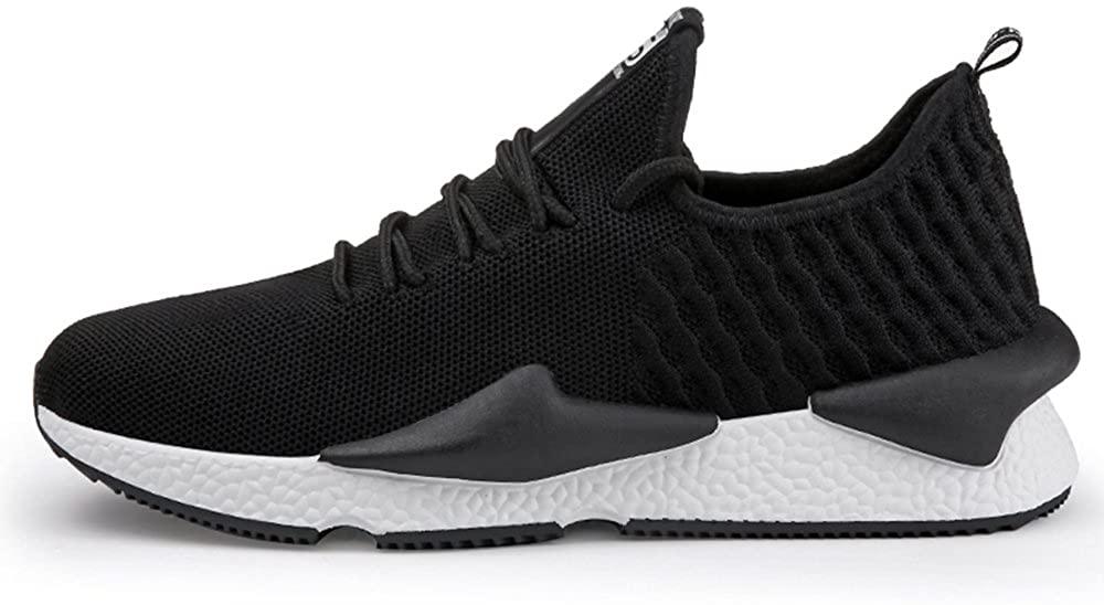 Agnus.W Men's Casual Shoes Breathable Flying Woven Shoes Athletic Shoes (EU41-7 D(M) US, Black)