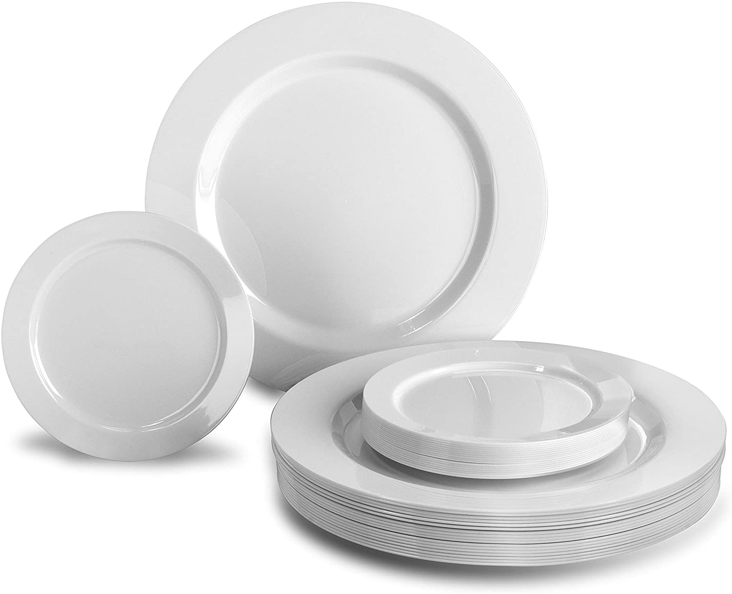 OCCASIONS  120 Plates Pack, Heavyweight Premium Disposable Plastic Plates Set 60 x 10.5 Dinner + 60 x 6.25 Dessert / Cake Plates (Plain White)