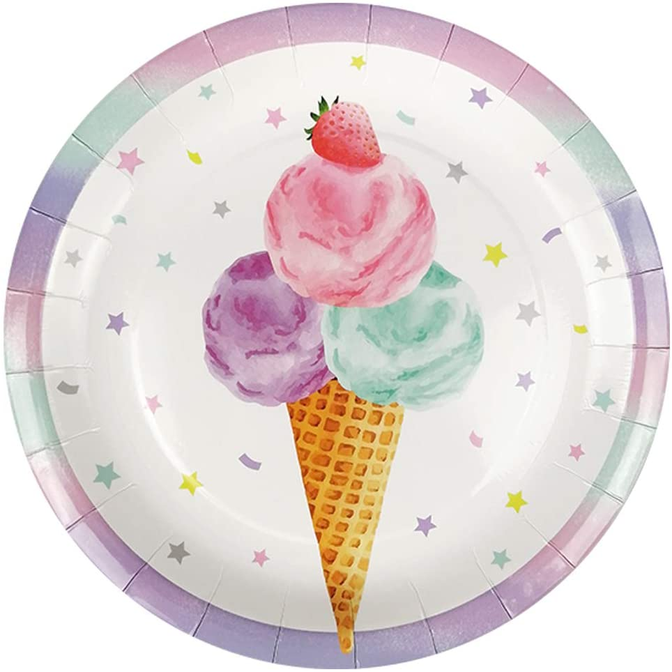Cieovo 24 Count Disposable Plates Summer Ice Cream Party Paper Plates Dinner Dessert Plates for Sweet Summer Ice Cream Theme Birthday Baby Shower Wedding Party Supplies