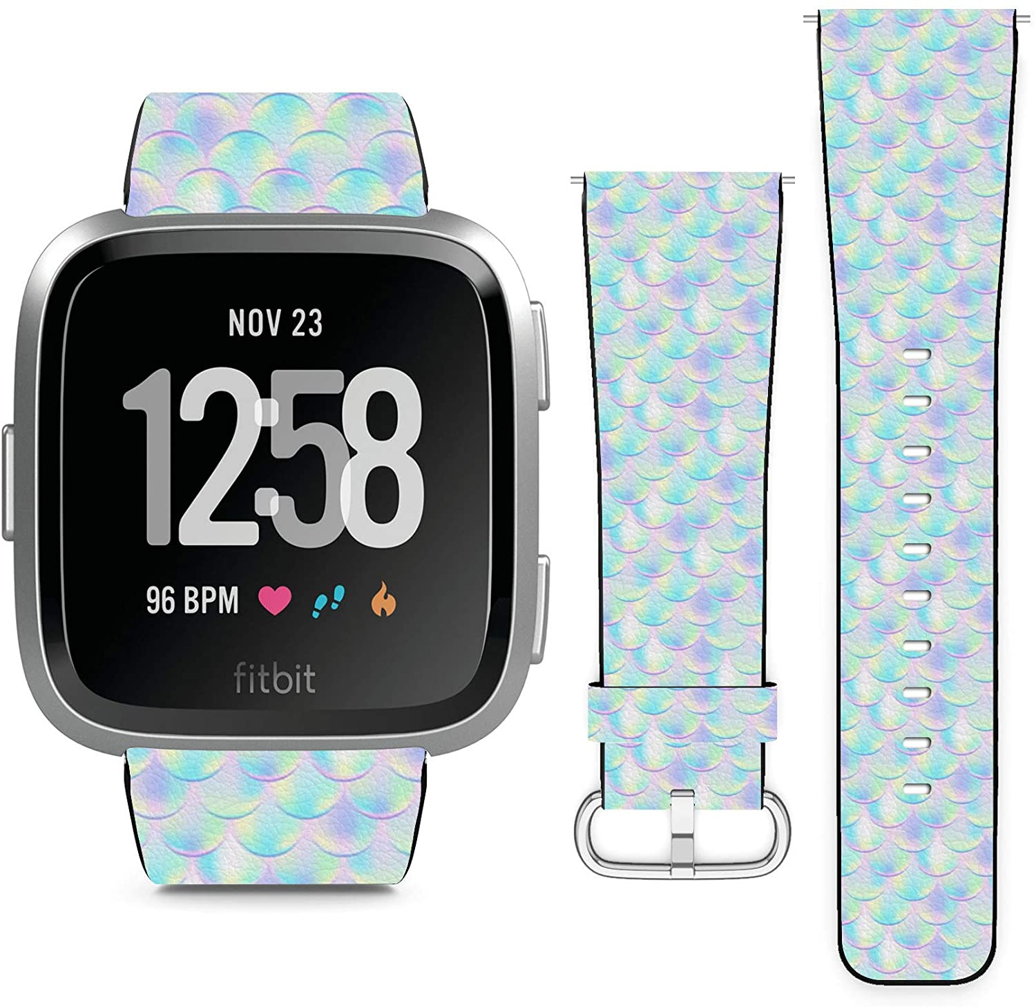 Compatible with Fitbit Versa, Versa 2, Versa Lite, Leather Replacement Bracelet Strap Wristband with Quick Release Pins // Colorful Mermaid