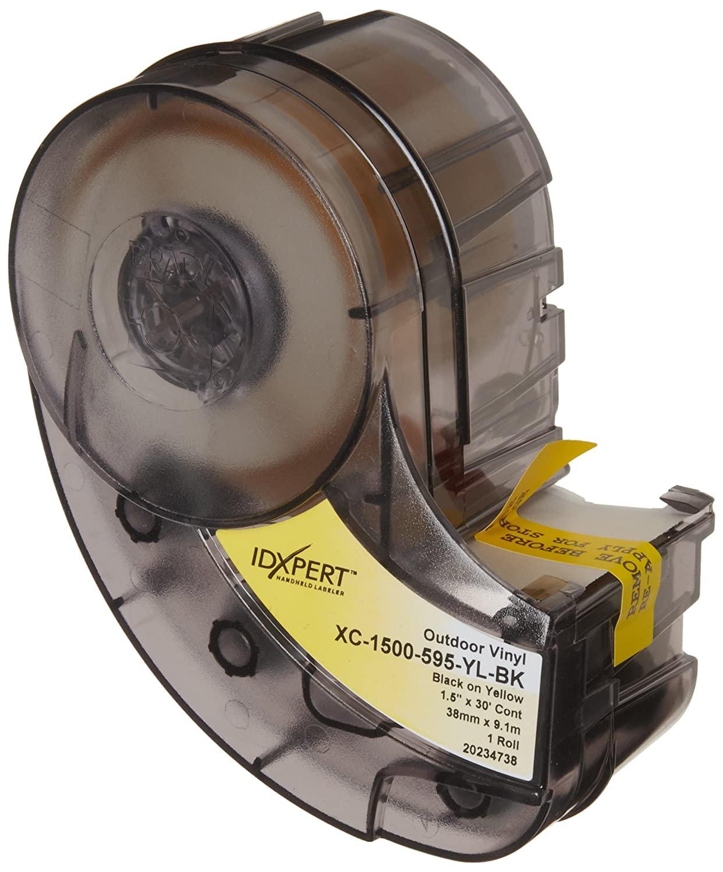 Brady XC-1500-595-YL-BK-BRADY XC-1500-595-YL-BK IDXPER & LABXPERT Labels B- 595 Indoor/Outdoor Vinyl Film Black on Yellow, Printable Area: 1.500 W x 30.000 H, 1 roll (30ft.)/Cartridge