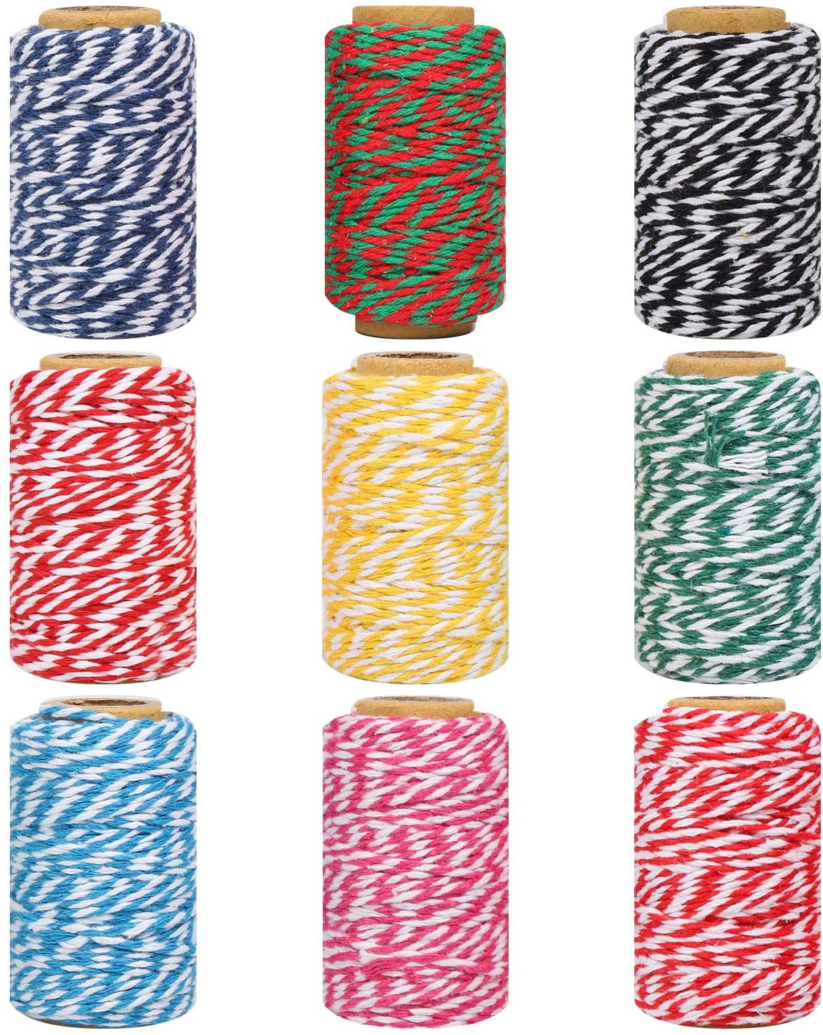 Maosifang 9 Colors Christmas Twine Cotton 2 mm String Rope Cord for Gift Wrapping Arts Crafts Party Decorations Gardening,9 Rolls