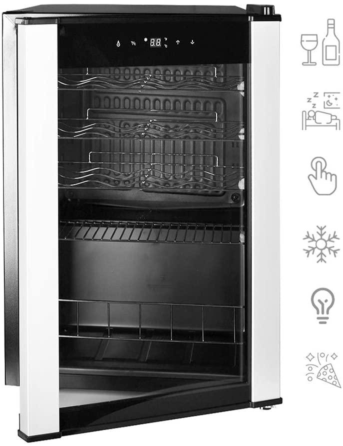 Smad 19 Bottle Freestanding Wine Cooler with LED Display & Glass Door & Adjustable Shelves Quiet for Bars, Home Kitchen, Hotels, Black