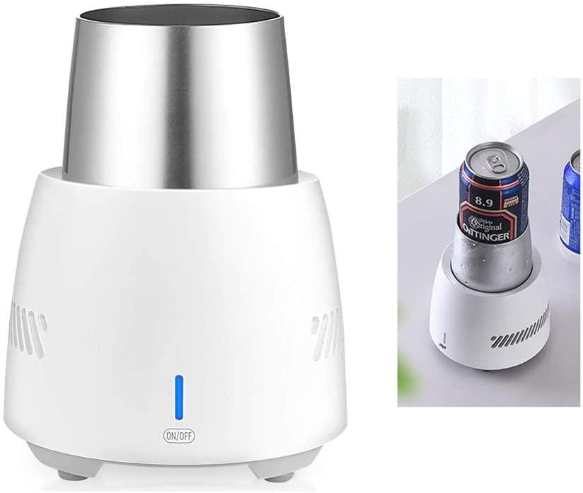 TIANDU Cup Cooler Smart Fast Cooler Cup Mug Desktop Mini Refrigerator 350ML Beverage Cooler Electric Cooling Cup with Food-Grade Aluminum Mug for Desk Coffee Beer Cola Water Wine Drink