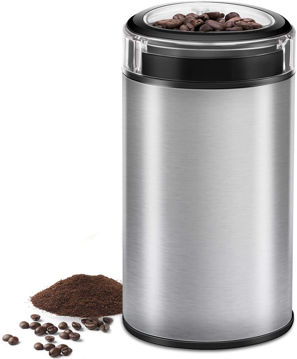 Electric Coffee Grinder Spice Grinder - Stainless Steel Blades Grinder for Coffee Bean Seed Nut Spice Herb Pepper, Brushed Stainless Steel Texture and Transparent Lid