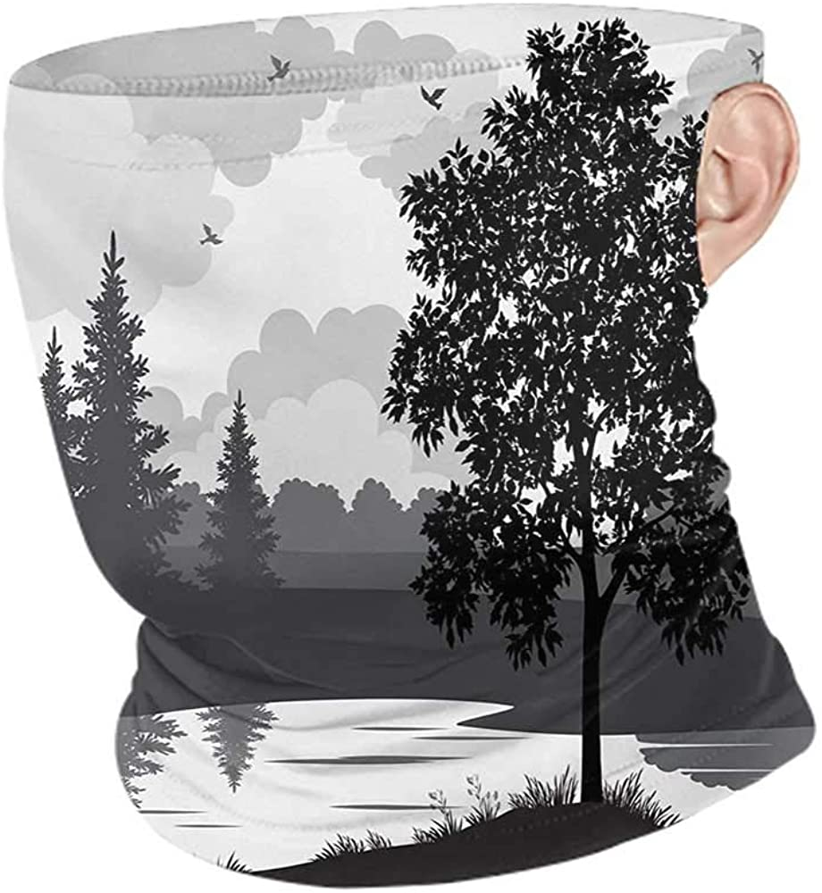 Neck Gaiters Summer Nature Nature Theme Landscape with Trees Birds Cloudy Sky and The River Idyllic Scenic,Sunscreen Bandana Black and Grey 10 x 12 Inch