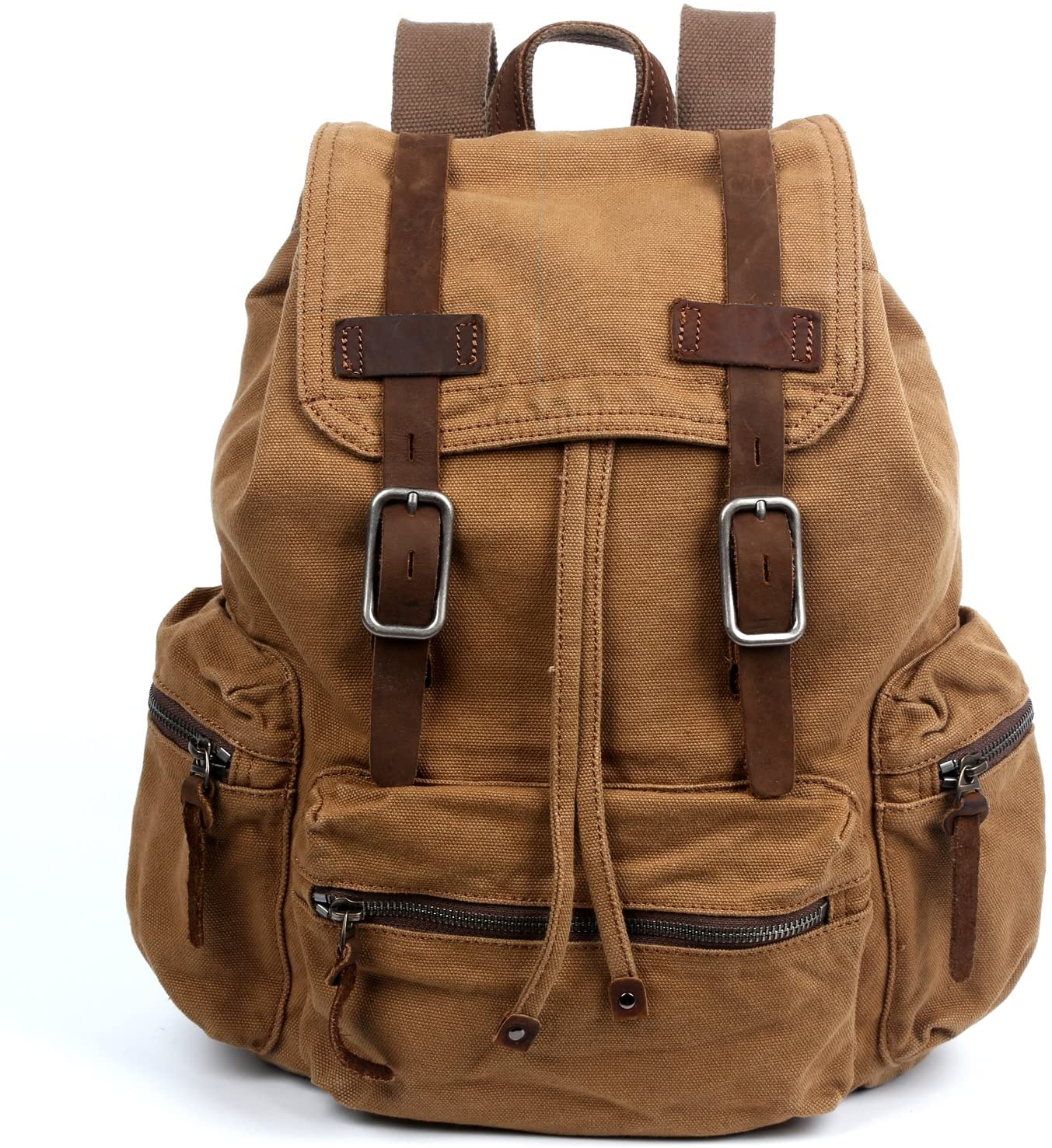 The Same Direction Silent Trail Backpack Canvas and Leather Durable Backpack (Camel)