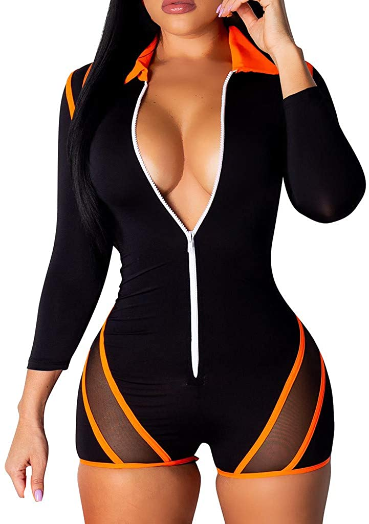 JOFOW Jumpsuit for Women Long Sleeve Deep V Neck Zipper Skinny Overall