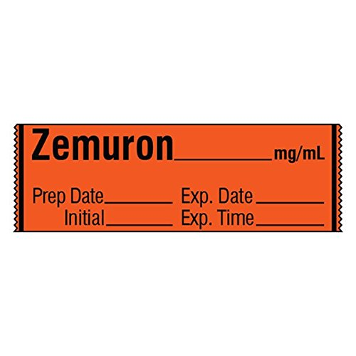 Muscle Relaxant Medication Label Tape ZEMURON_mg/mL