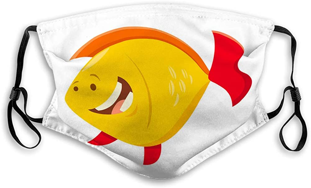 Washable Reusable Mouth Covers Cute Cartoon Fish Animal Character Face Shield