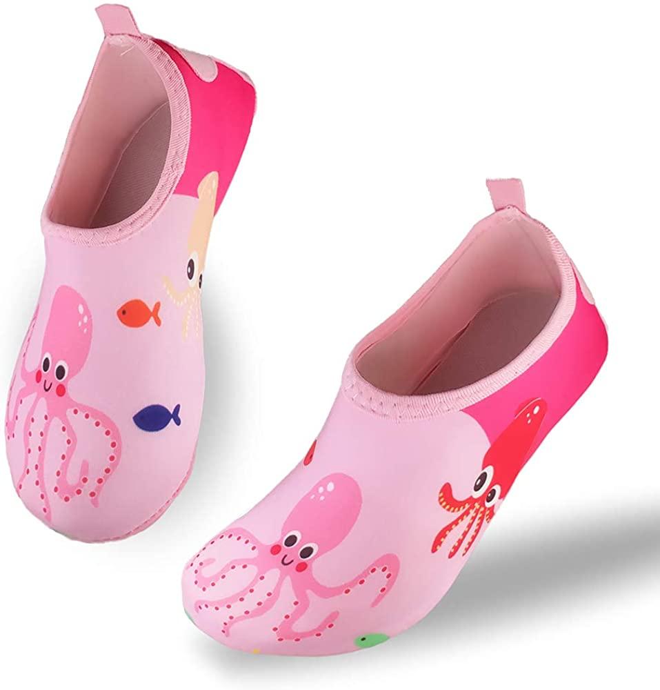 FELOVE Kids Beach Shoes Quick Dry Non-Slip Skin Barefoot Water Shoes Boys Girls Aqua Socks for Toddler Pool Garden Seaside Sport