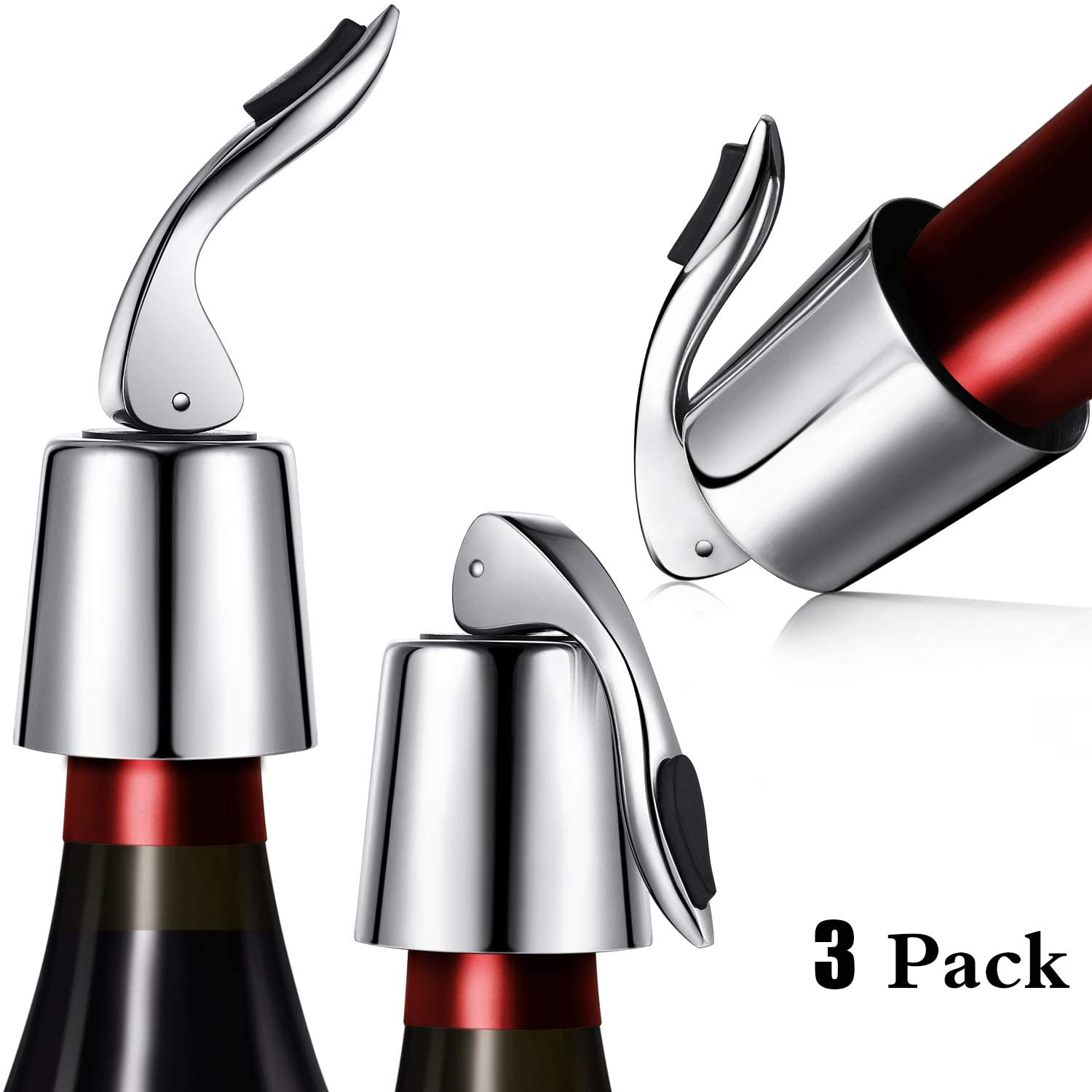 Zhanmai Stainless Steel Wine Stoppers Bottle Stoppers Vacuum Bottle Sealer Bottle Plug with Inner Rubber 1.6 x 3.7 inches (Silver)