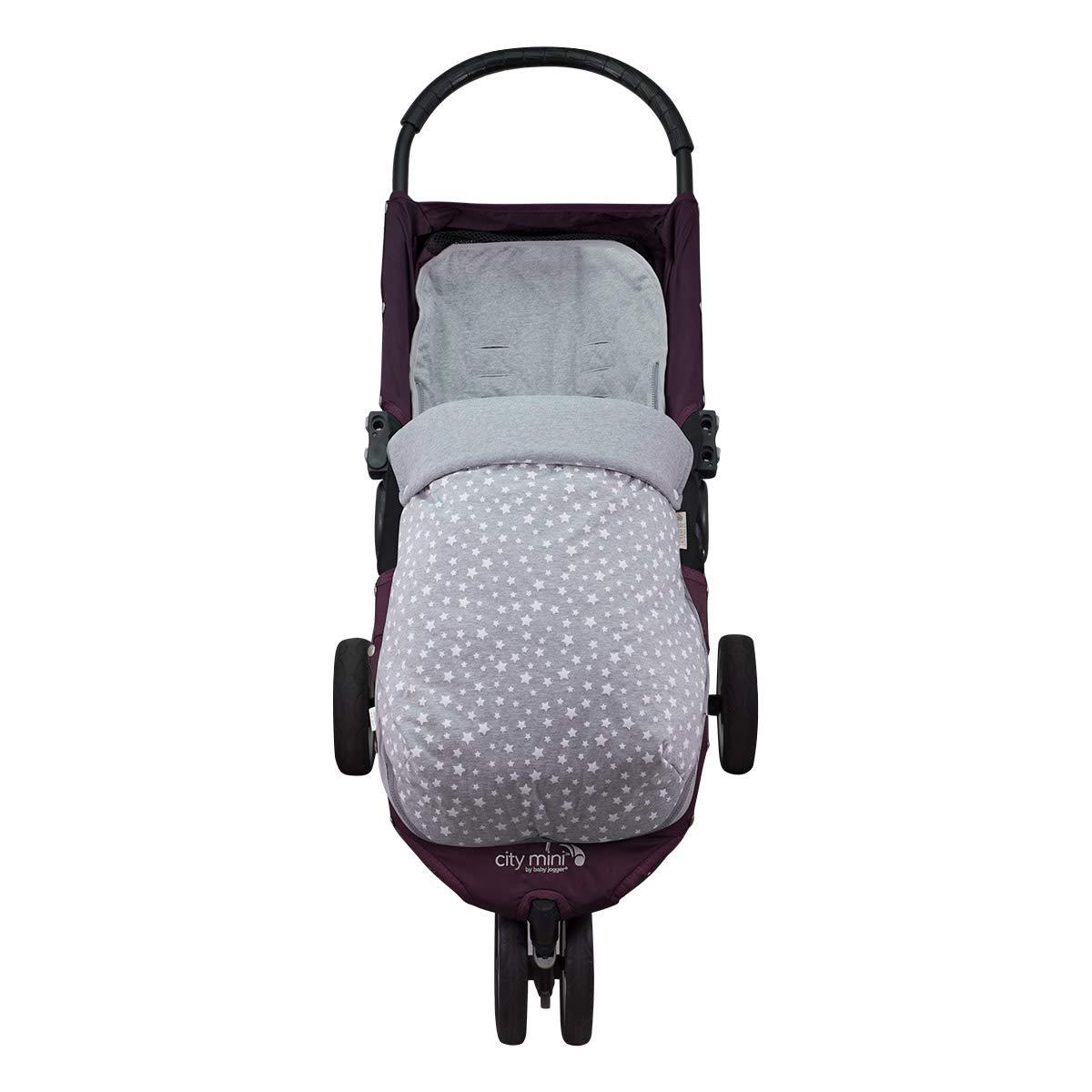 Janabebé Footmuff Baby Sack Jogger City Mini Pushchairs (White Star, Cotton)