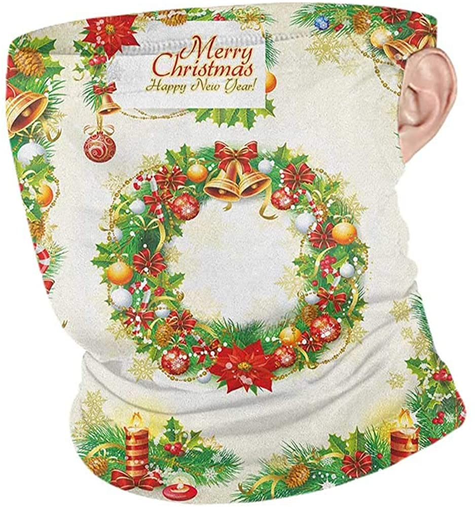 Neck Gaiters Summer Christmas Set of Old Fashioned Nostalgic Christmas Banners with a Greeting Card Art Print,Headband Neck Gaiter Multicolor 10 x 12 Inch