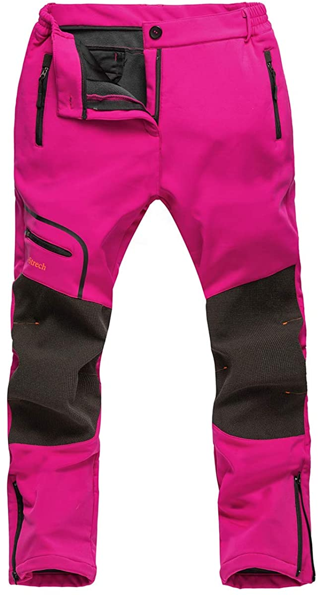 Postropaky Womens Ski Snow Pants Outdoor Waterproof Insulated Fleece Lined Hking Softshell Pants Snowboard Zipper Bottom Leg(Pink 30x30)