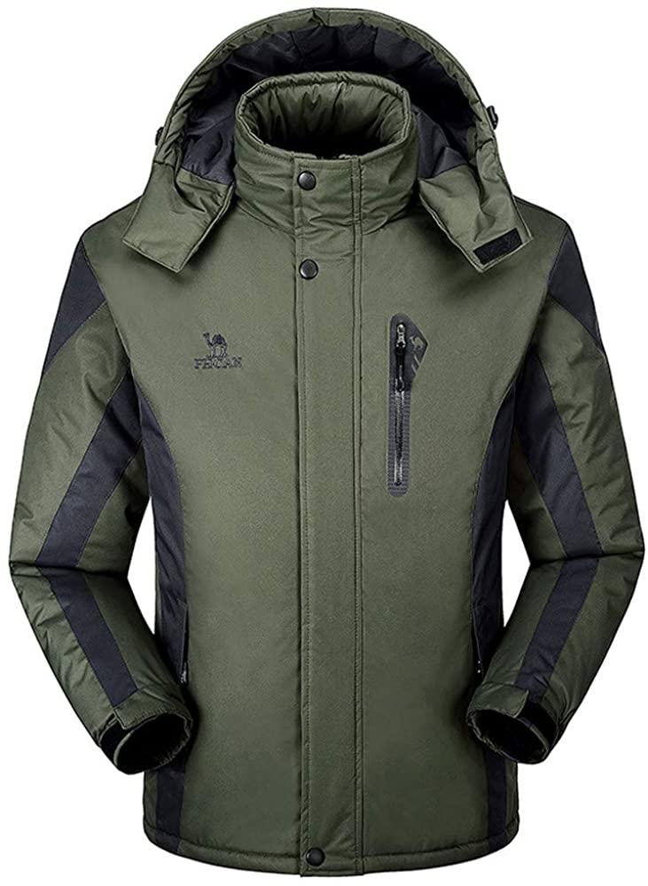 aliveGOT Men's Mountain Ski Fleece Jacket Waterproof Parka Windproof Warm Winter Raincoat with Hood Outdoors
