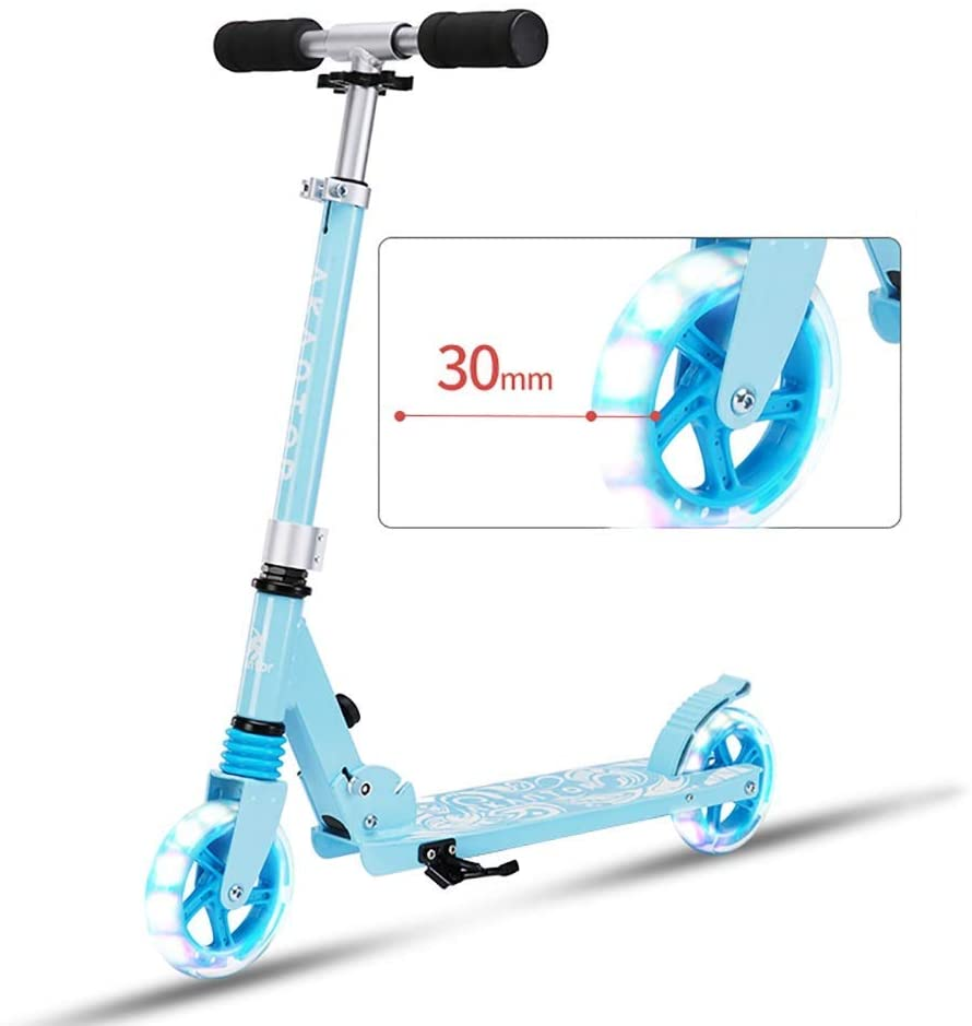 PLLP Outdoor Sports Scooter Kick,Kids Folding with Adjustable Handlebar, Kick Wide Liughted Pu Flash Wheel Rear Brake, 100Kg Load Capacity Adult Child Toy Balance Car Mini,Blue