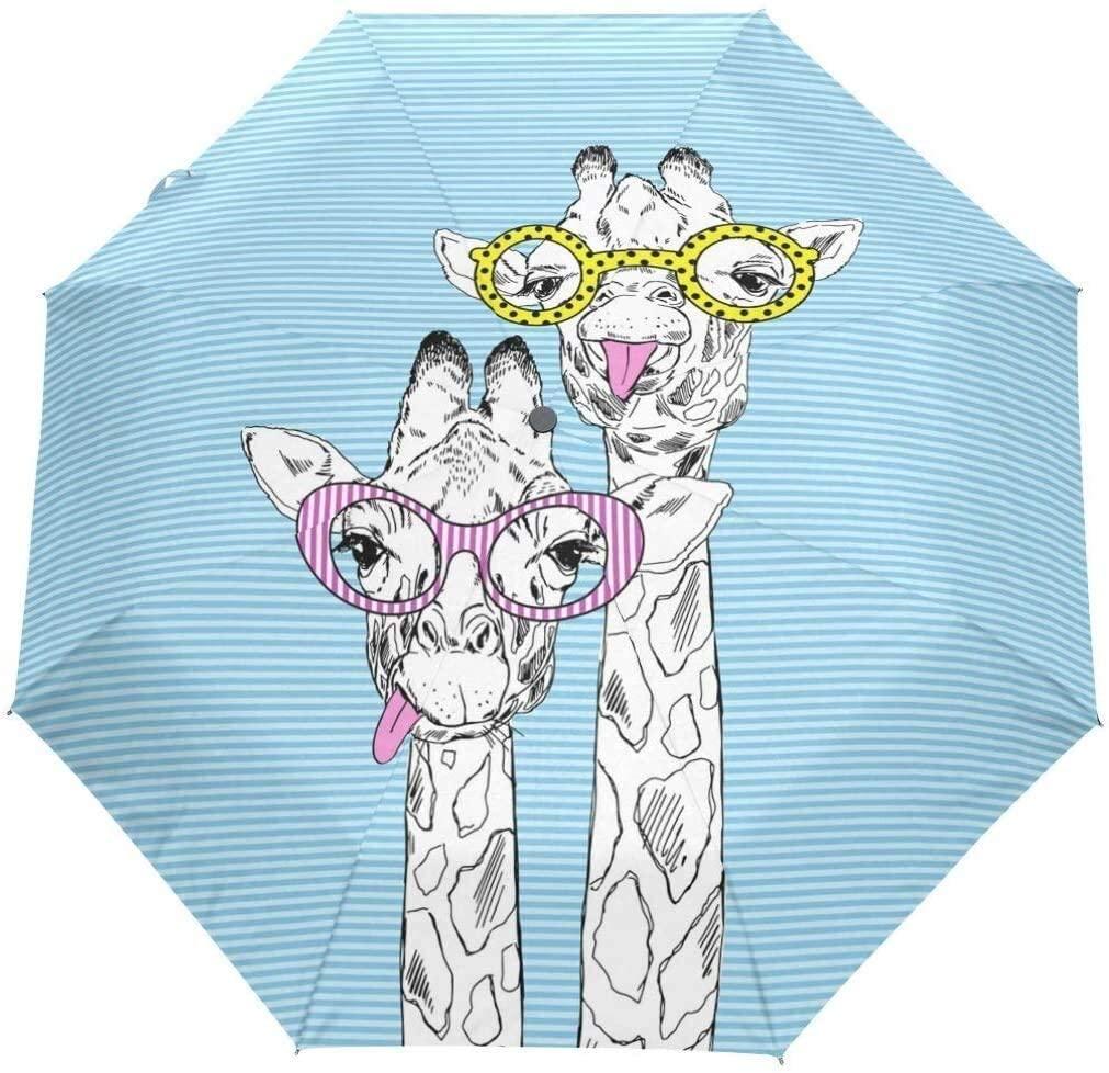 Automatic Umbrellas Geometrical Animal Giraffe Cartoon Anti-Slip Windproof Compact Rain Umbrella for Women Men
