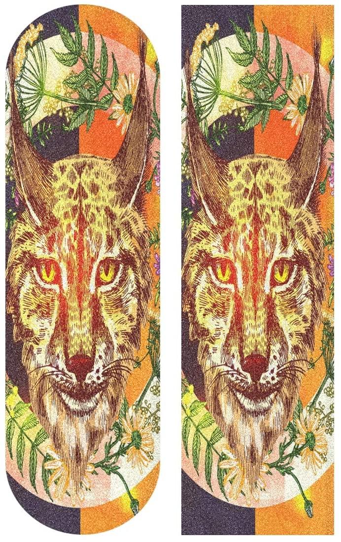 Skateboard Grip Tape Sheet 33 X 9 Inch - Tiger Animal Sandpaper for Rollerboard Longboard Griptape Bubble Free Scooter Grip Tape