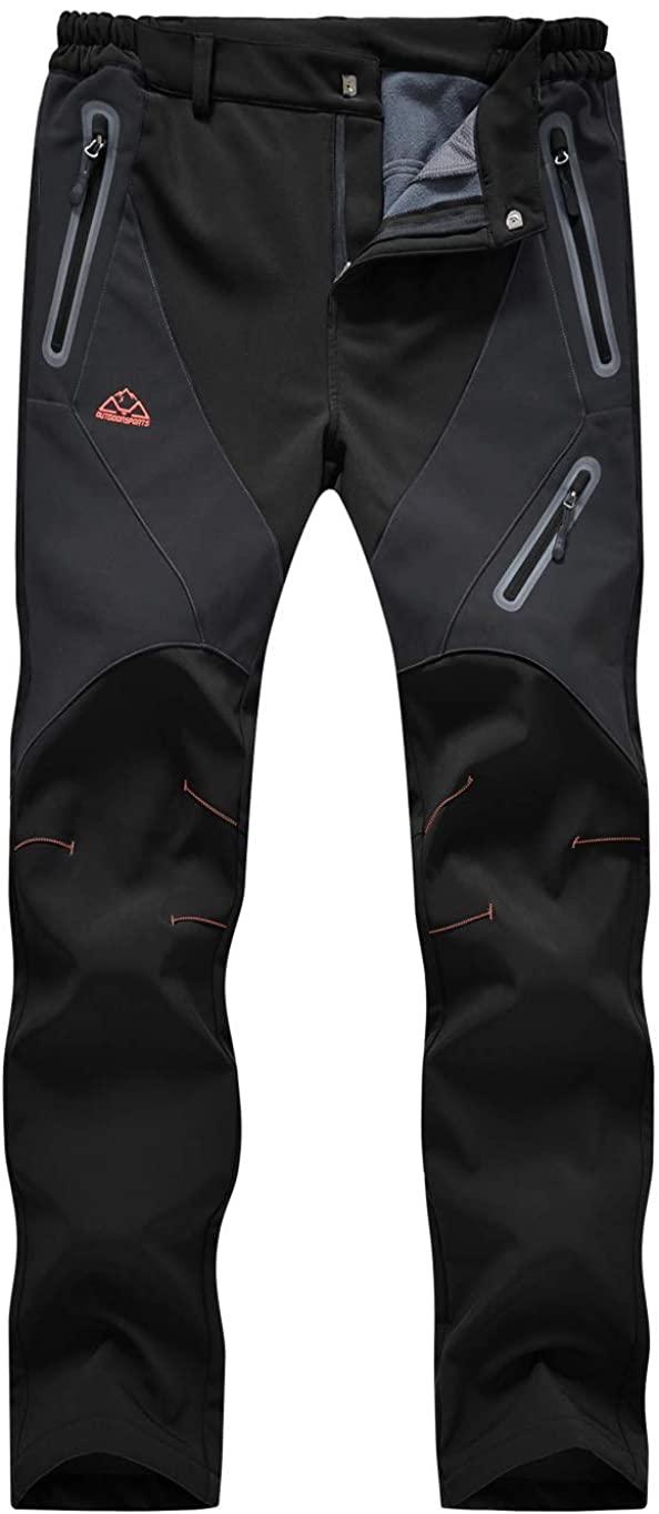 TBMPOY Women's Outdoor Softshell Pants Waterproof Quick Dry Fleece Lined Hiking Cargo Pants