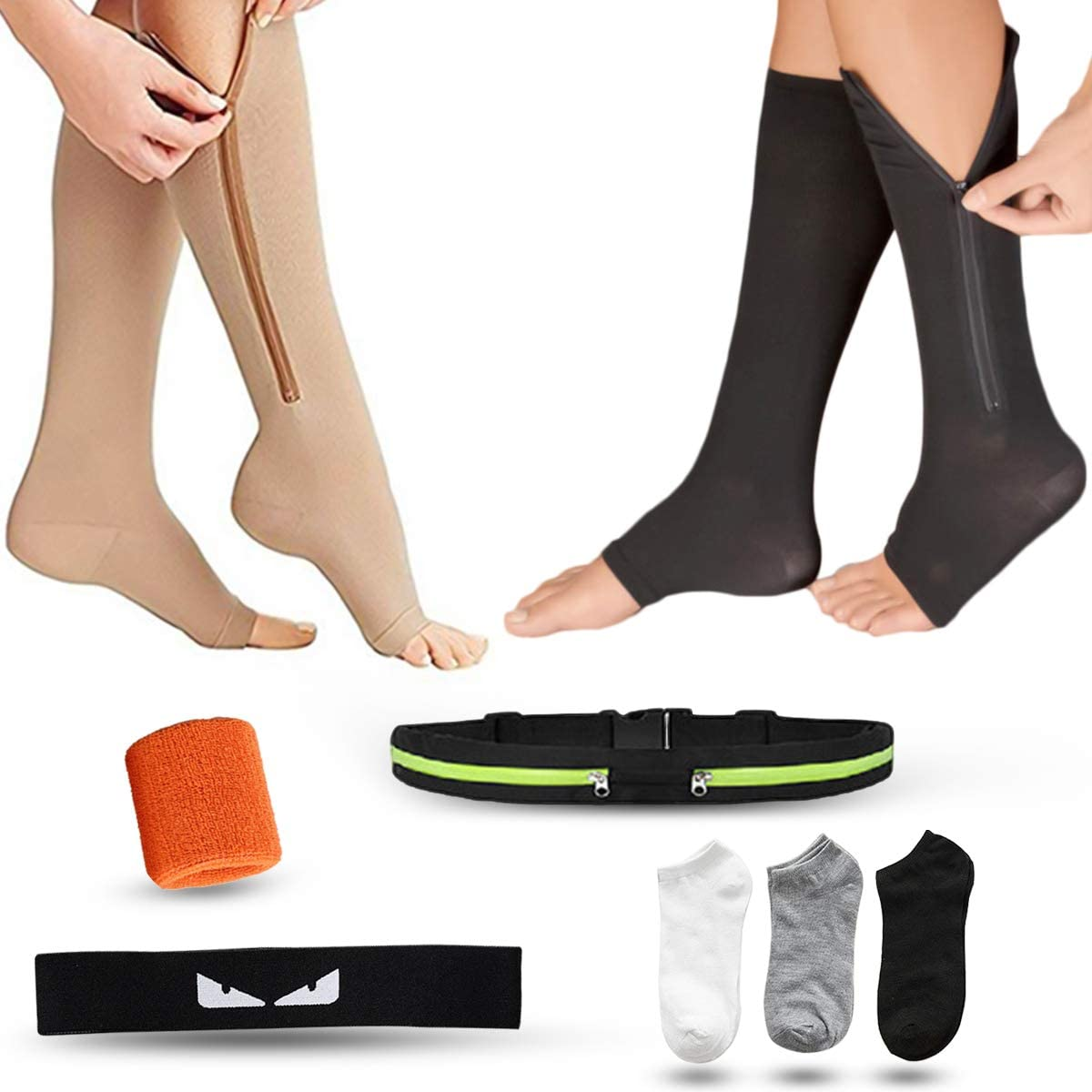 2Pairs Zipper Compression Leg Socks Support Stocking Knee High Socks for Women