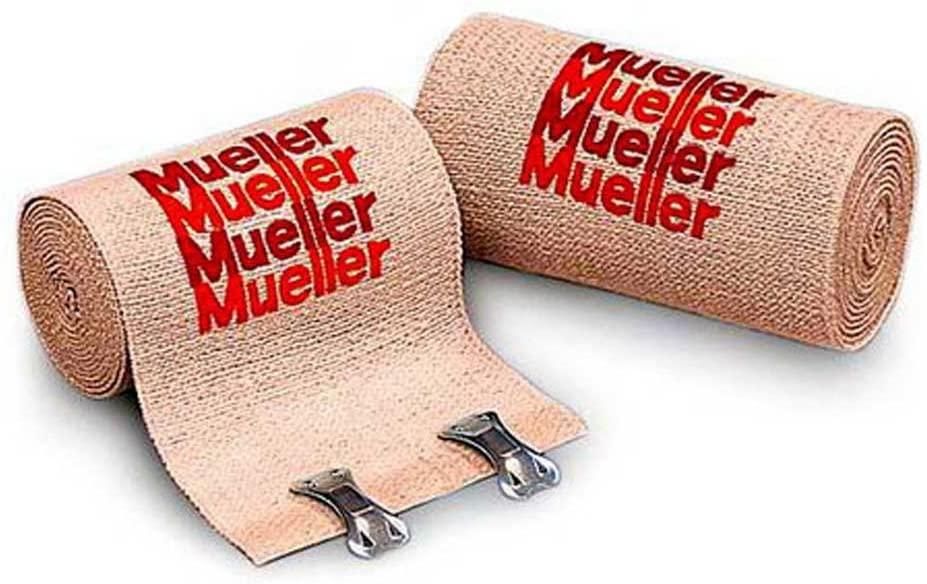 Mueller 6 x 5.3 ft Elastic Bandages, cotton and elastic, reusable, clips included - Each