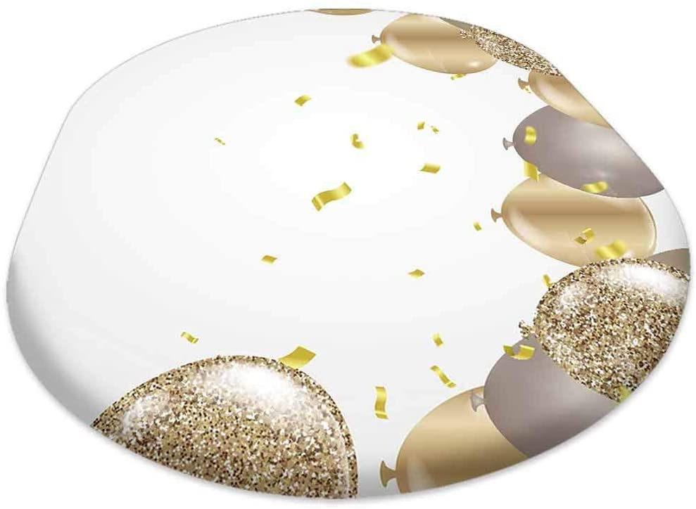 oobon Oval Picnic Folding Table Cover, Gold Balloons Confetti and Streamers on White Background Vector Illustration, for Spring/Summer/Party/Picnic, 60x120 inch