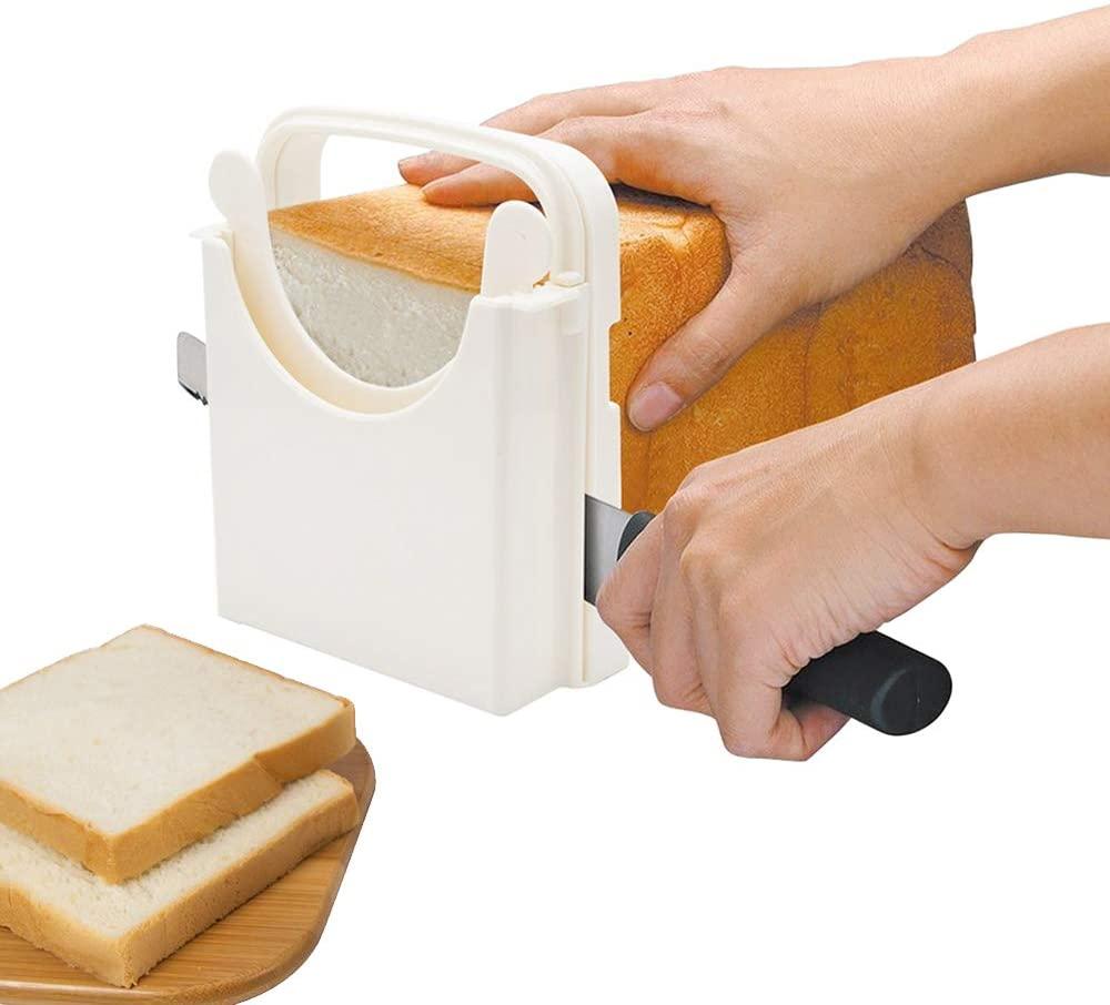 POLARHAWK Bread Slicer,Adjustable Bread/Roast/Loaf Slicer Cutter, Folding Loaf Cutter Machine, Customizable to 5 Thickness | Bagel/Sandwich/Toast Slicer |