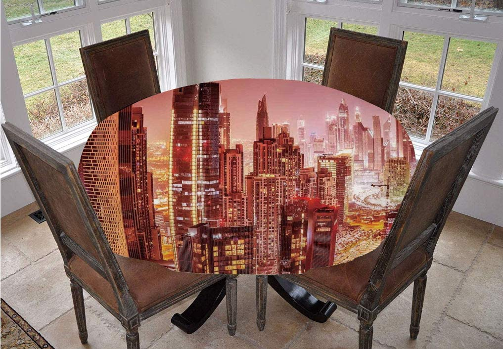 Angel Bags Cityscape Round Tablecloth,Dubai at Night Cityscape with Tall Skyscrapers Panorama Picture Arabian Peninsula Polyester Table Cover,60 Inch,for Holiday Home Christmas Party Picnic Pink Gold