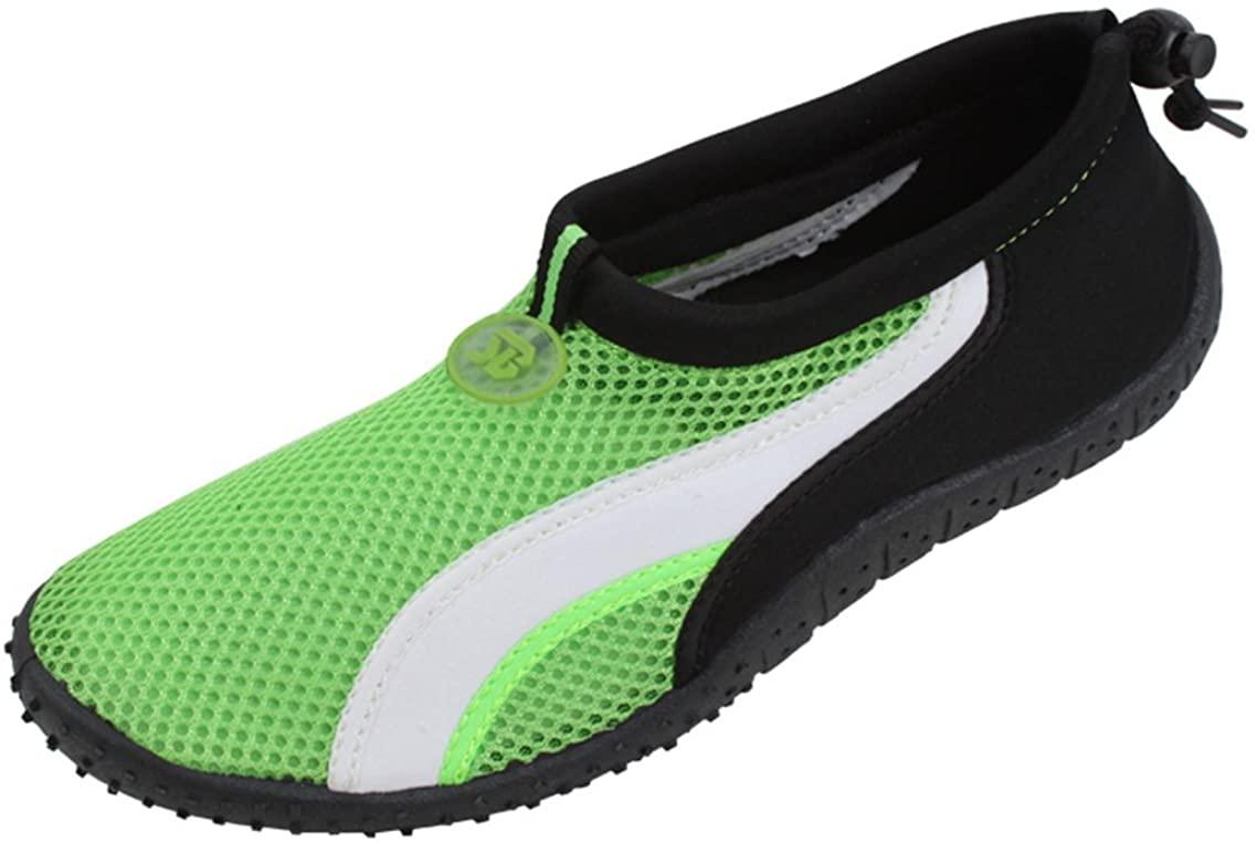 Starbay New Brand Men's Black Athletic Water Shoes Aqua Socks with White Streak Size (10, Green)