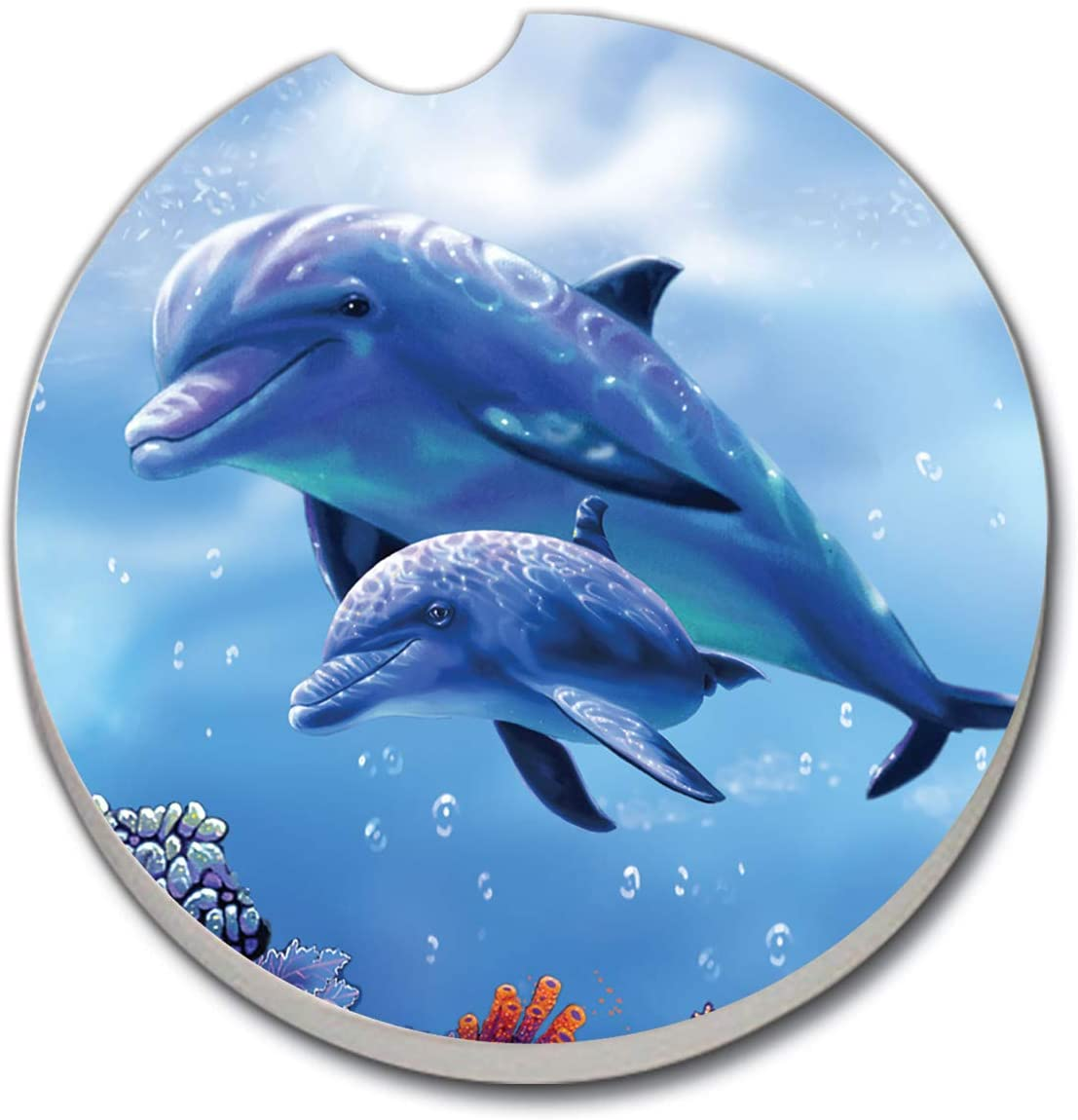 CounterArt Absorbent Stoneware Car Coaster, Dolphin with Baby, Set of 2