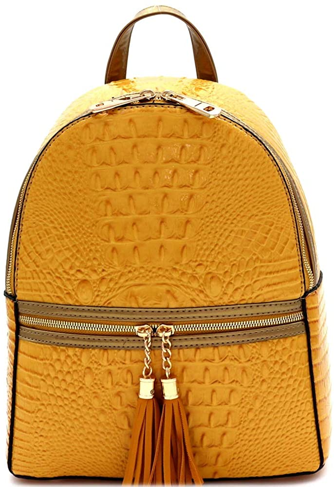 Tassel Glossy Patent Crocodile Vegan Leather Structured Dome Fashion Backpack