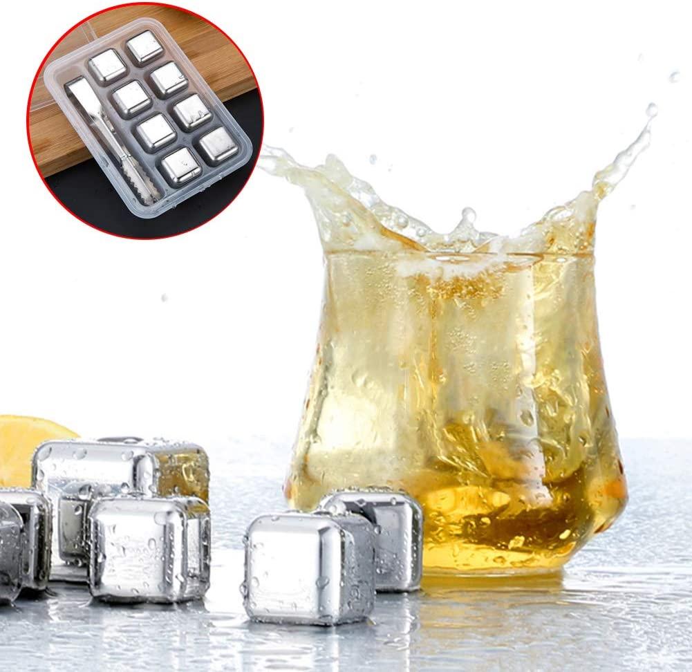 LRZ Cubitos De Hielo para Whisky Piedras De Hielo Reutilizables De Acero Inoxidable Con Pinzas De Hielo El Mejor Regalo para Hombres (Forma De Cubo Con 8)