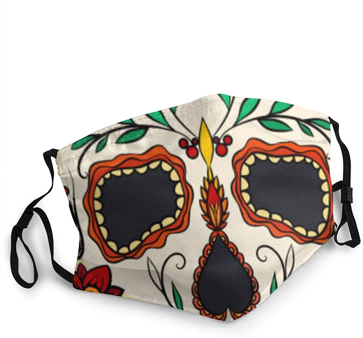 Face Mask, Comfortable Non-Elastic Ear Loops,Sugar Skull Washable and Reusable, Unisex Mouth Mask