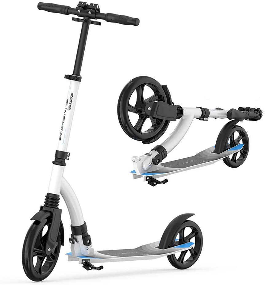 PLLP Child Foldable Scooter-Scooter Kick Folding Adult Kick, Shock Absorbing Pu Flashing Wheel, Adjustable White with Foot Brake, 100Kg Load, Non-Electric