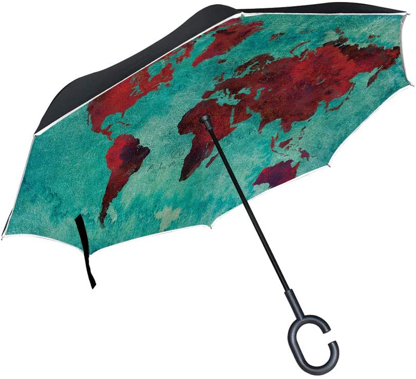 C COABALLA Reverse Umbrella,World Map Grunge Background for Women with UV Protection,Upside Down Umbrella with C-Shaped Handle SW36647