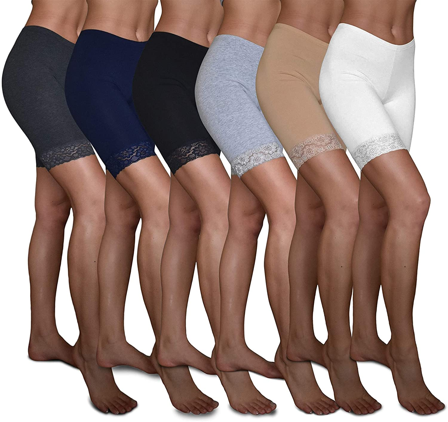 Sexy Basics Slip Shorts | 6 Pack Active Dance Running Yoga Bike Shorts | Cotton Spandex Lace Trim Boxer Brief/Bike Shorts