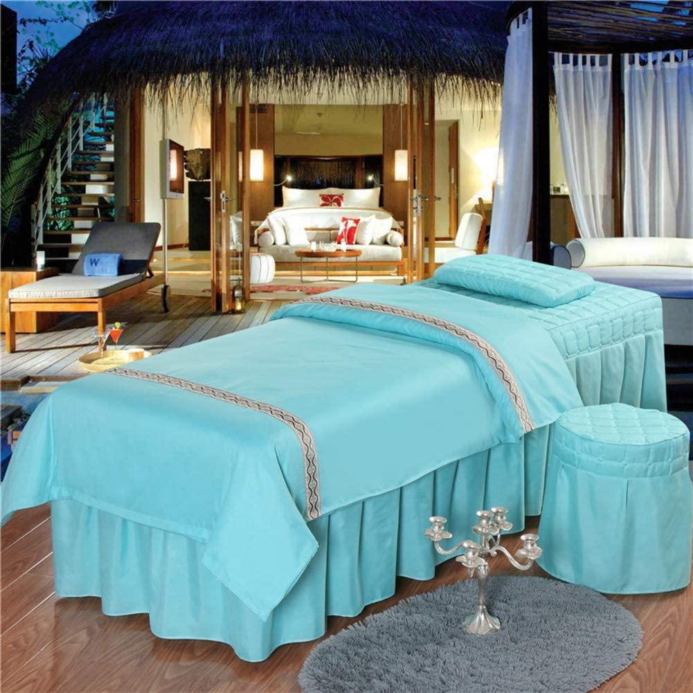 SL-DAM Blue Beauty Bed Cover,Beauty Four-Piece Salon Beauty Body Massage Foot Bath Club Bed Cover Soft Cotton Massage Table Sheet Sets-A 190x80cm(75x31inch)