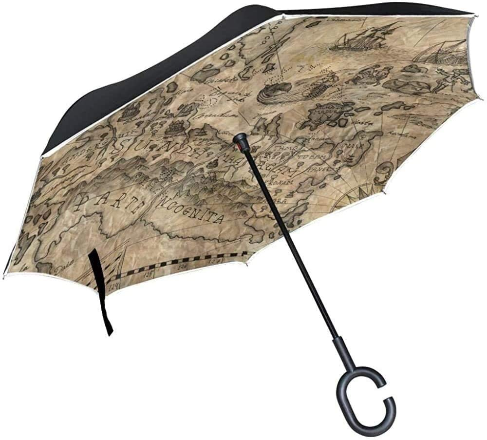 ASDF Inverted Umbrella Antique Old World Map Double Layer Reverse Umbrella with C-Shaped Handle