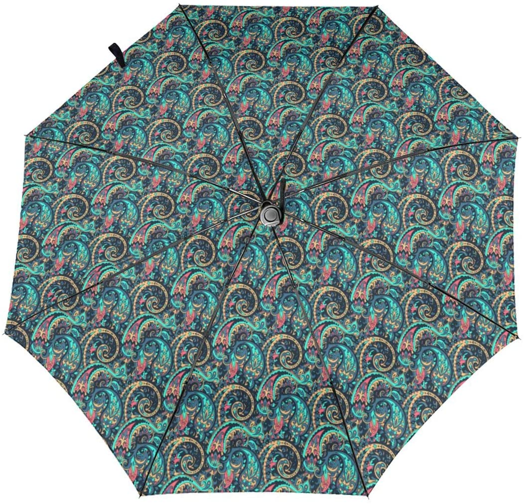 CHAN03 Paisley Pattern Automatic Tri-fold Sunscreen Umbrellas Folding Umbrella