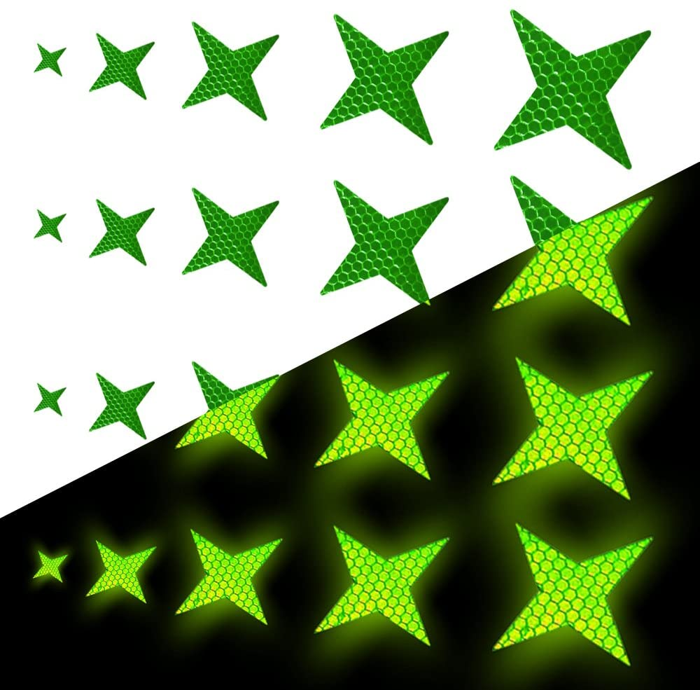 Reflective Tape Waterproof Four-pointed Star Shape Hard PVC Reflective Safety Stickers for Cars Motorcycles Bicycles & Other Warning Needs 25 Pcs Green